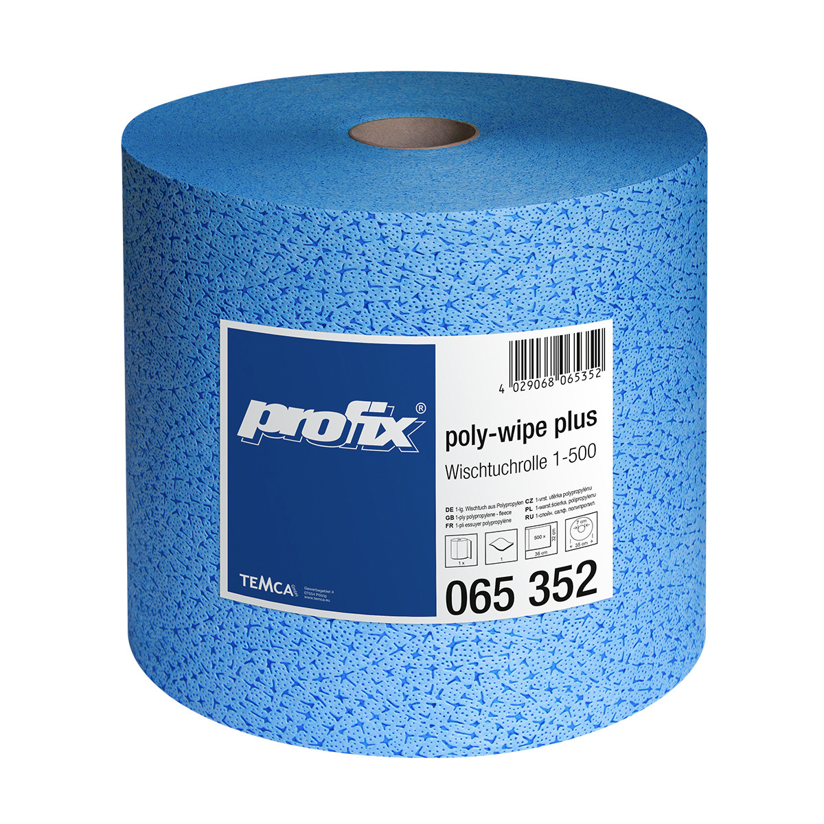 Салфетки протирочные в рулоне TEMCA Profix Poly-Wipe Plus, 32х36см, 500 листов