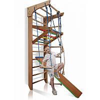 Спортивная лестница с турником, канатом, горкой (полный комплект, бук), фото 1