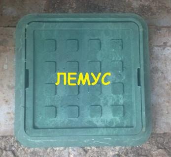 Люк квадратный 300х300 полимерпесчаный  зеленый без замка