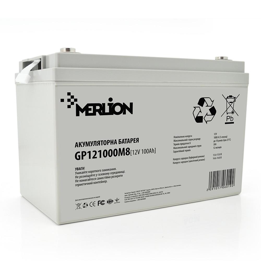 Аккумулятор AGM - 100 Ач, 12В гелевый Merlion GP121000M8