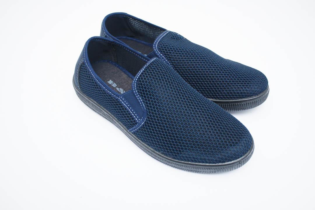 Мужские мокасины (Код: Сетка 042 синий  )