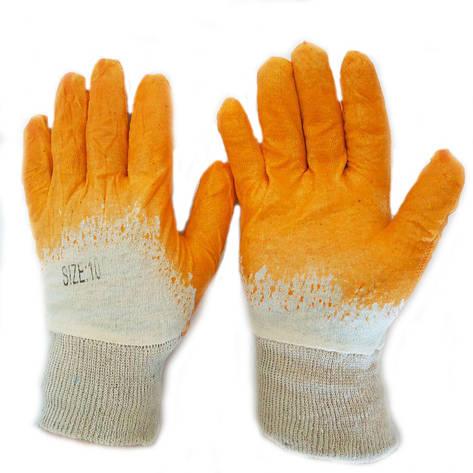 Перчатки защитные хб, на ладони нитриловый облив, оранжевые, № 10, уп. — 12 пар, фото 2