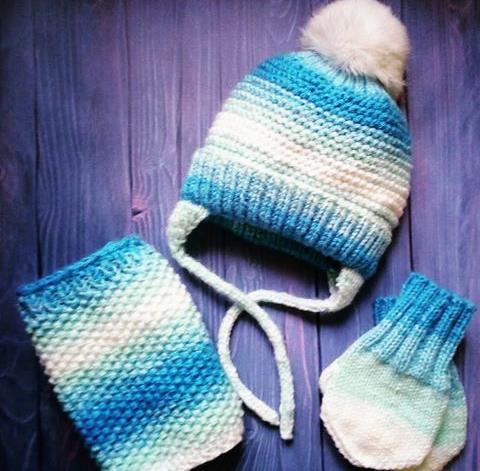Шапка - снуд-рукавиці (ручная работа, вариации цветов)