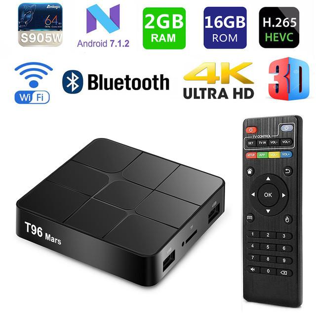 Андроид приставка смарт ТВ Smart Android 7.1 TV Box T96 mars 2GB/16GB X96