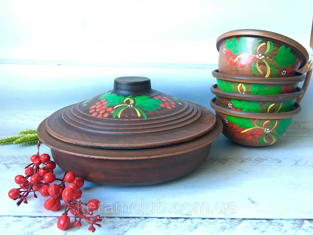 Керамический набор из красной глины сковорода и 4 пиалы с рисунком