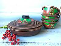 Керамический набор из красной глины сковорода и 4 пиалы с рисунком, фото 1
