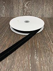 Лента бархатная стрейчевая 20 мм 25 ярдов чёрная