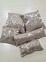 Комплект подушек Беж завитки с розовинкой, 5шт, фото 1