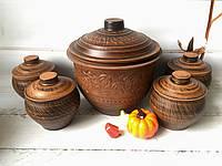 Набор керамической посуды бочонок 5 л и 4 глечика 600 мл