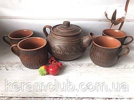 Глиняний чайний набір заварник і 4 чашки