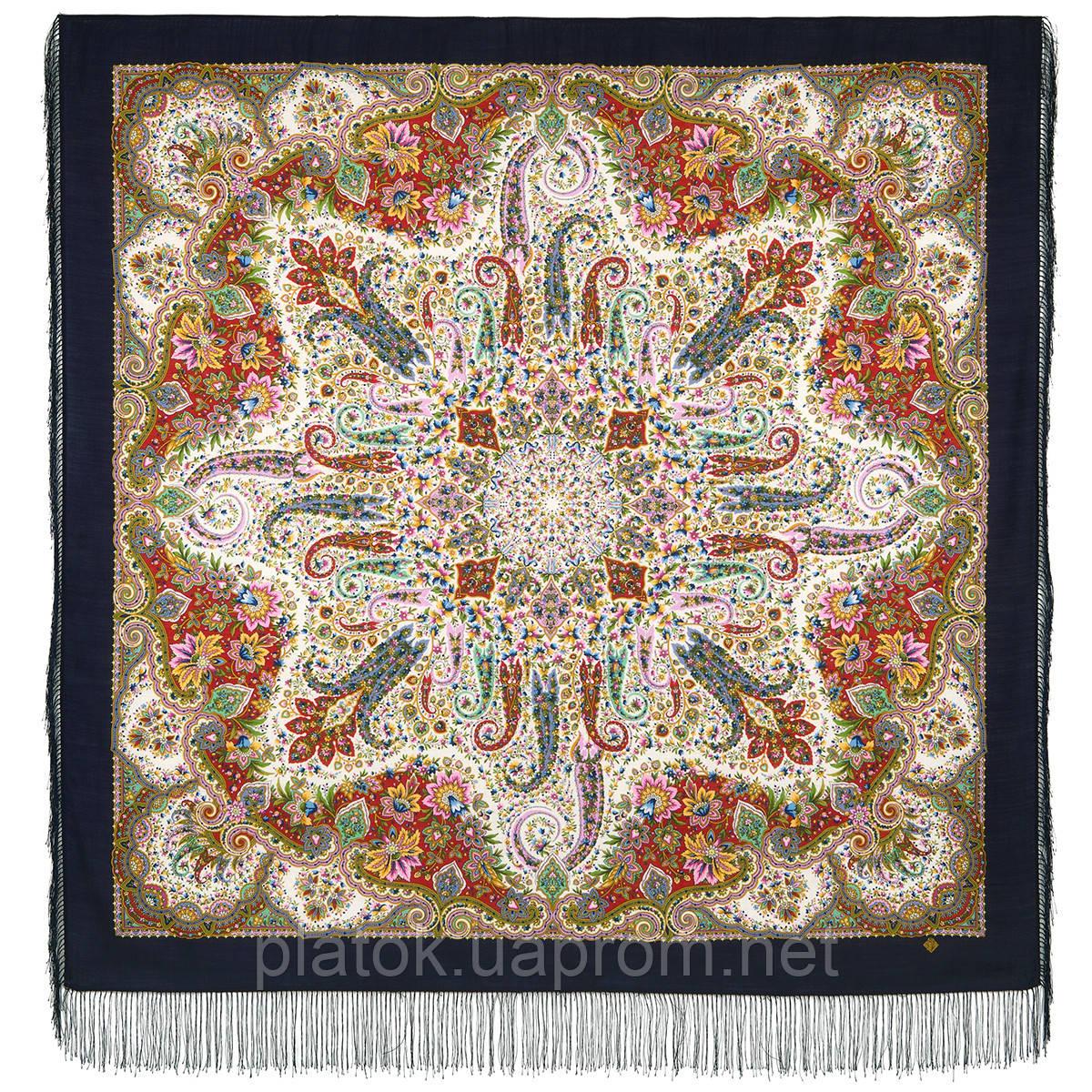 Изюминка 1811-14, павлопосадский платок шерстяной  с шелковой бахромой