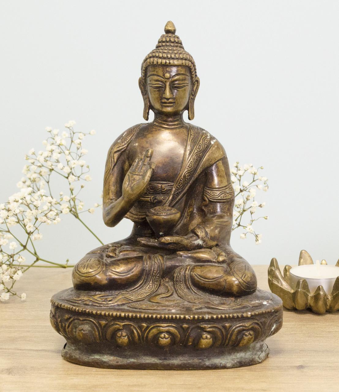 Старая бронзовая статуэтка, Будда Амитабха, бронза, Европа