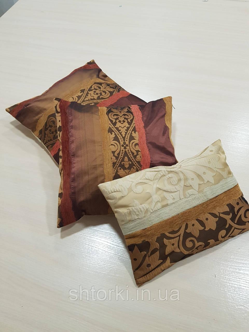 Комплект подушек Коричневые с бежем с рисунком, 3шт