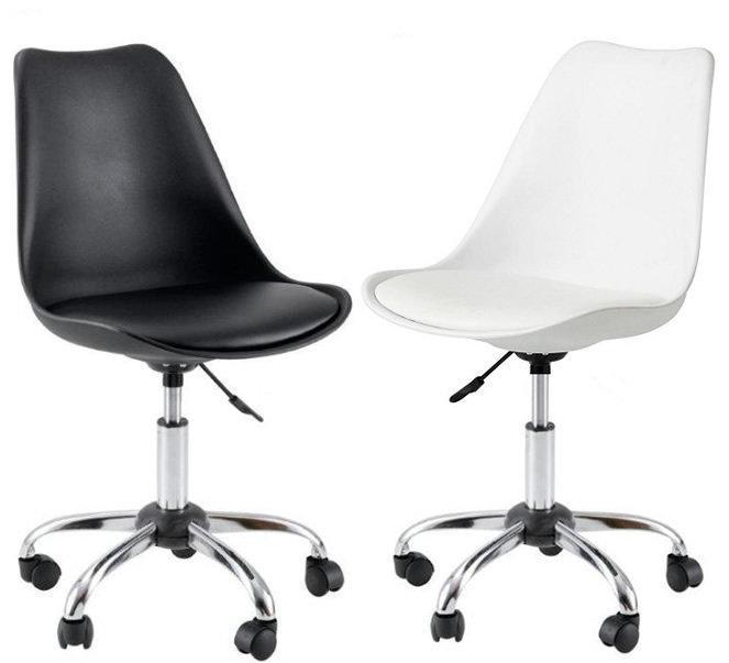 Стильный офисный стул, пластиковый с мягким сиденьем, хромированным основанием и колесиками Milan Office