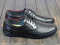 Мужские кожаные туфли на шнуровке черные, фото 1
