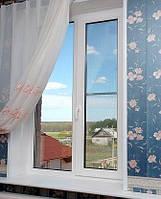 Окно металлопластиковое Rehau e-60 двухстворчатое  1200*1000 с одним открыванием