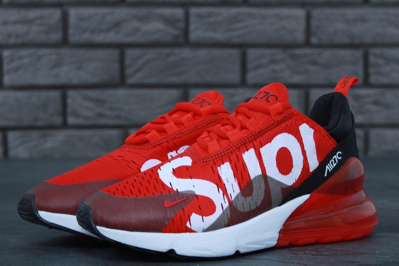 Мужские кроссовки Nike Air Max 270 x Supreme Red. Текстиль. [Размеры в наличии: 43,44]