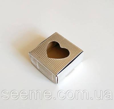 Коробка з мікрогофрокартону, 60х60х30 мм, колір срібний