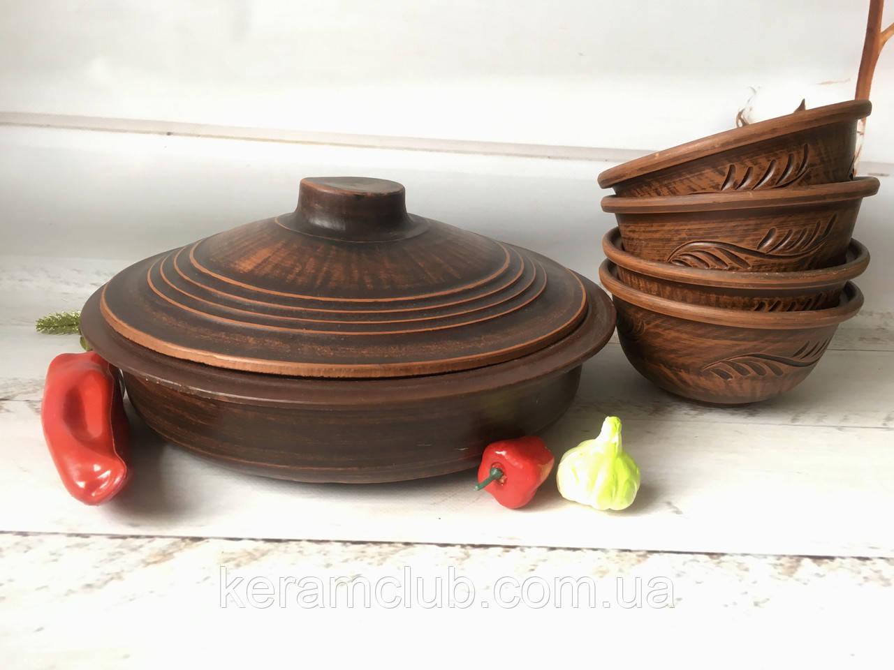 Керамический набор из красной глины сковорода и 4 пиалы