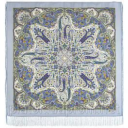 Изюминка 1811-1, павлопосадский платок шерстяной  с шелковой бахромой
