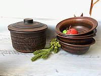 Набор из красной глины кастрюля 1,7 л и 4 миски-солдатки 600 мл, фото 1