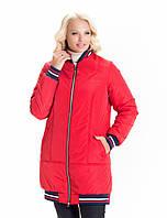 Женская демисезонная куртка красная (42-56), фото 1