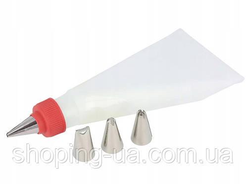 Силиконовый кондитерский мешок с насадками 4шт., фото 2