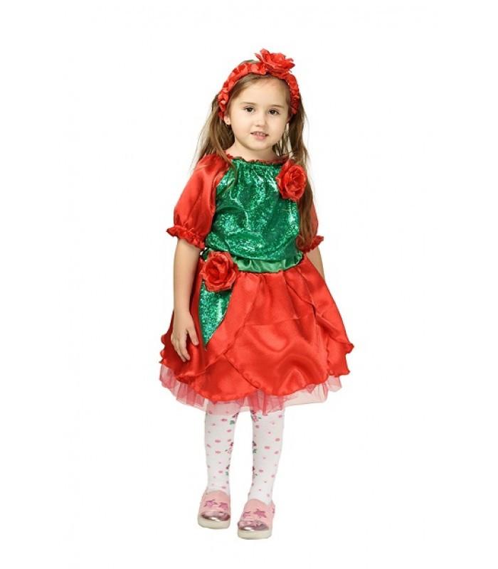 Карнавальный костюм РОЗА, ЦВЕТОК для девочки 4,5,6,7,8,9 лет, детский маскарадный костюм ЦВЕТОЧЕК РОЗОЧКА