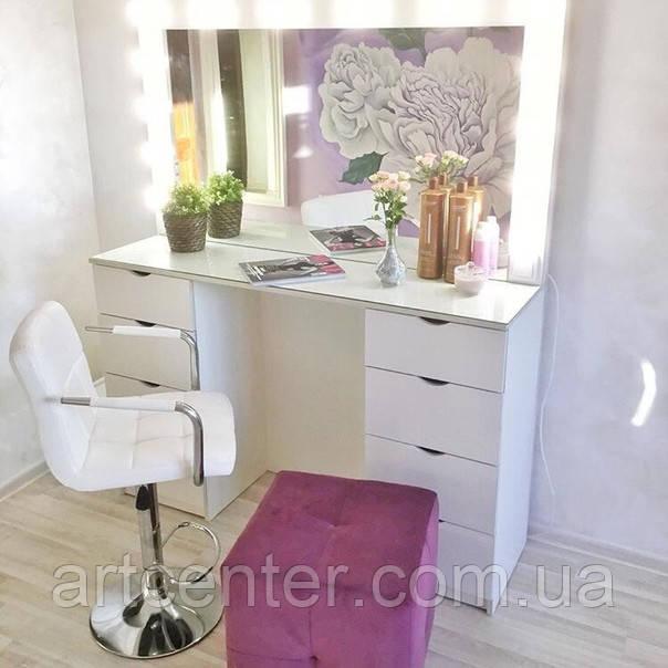 Туалетний стіл, стіл для візажиста/перукаря, гримерный стіл з ящиками і склом на стільниці