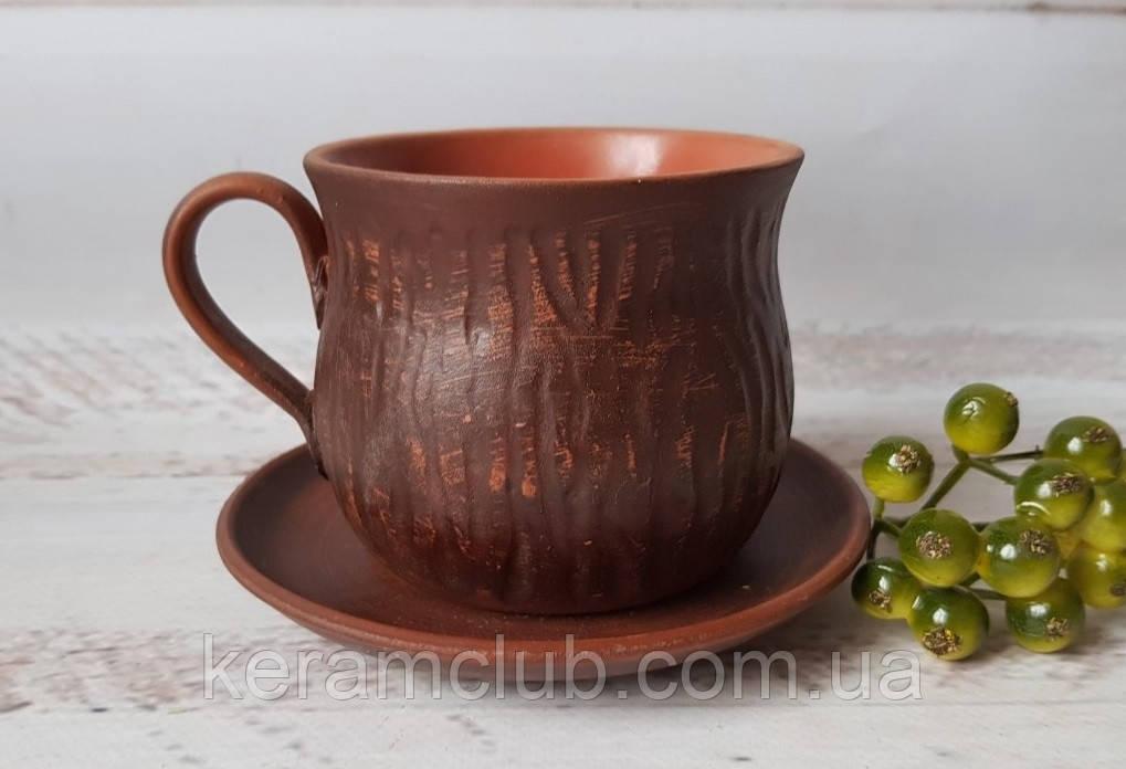 Чайный набор из красной глины блюдце 12 см и чашка 350 мл