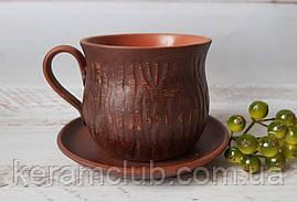 Чайний набір з червоної глини блюдце 12 см і чашка 350 мл