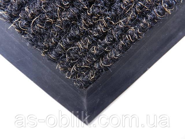 Коврик у двери «Поляна» черный с золотой нитью