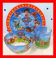 Набор детской стеклянной посуды 3в1