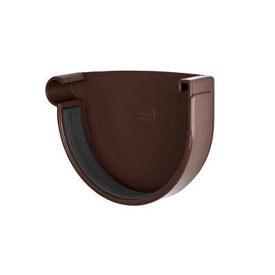 Заглушка водосточного желоба (правая) коричневая (130 мм)