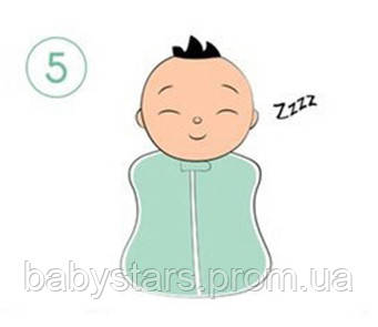 Инструкция по пеленанию ребенка в пеленку кокон на молнии - шаг 5