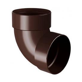 Отвод двухмуфтовый для водосточной системы коричневый 75 мм (67°)