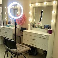 Рабочее место визажиста/стилиста с двумя ящиками, туалетный стол с гримерным зеркалом