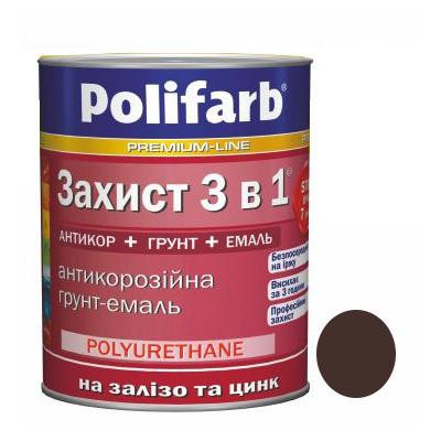 Эмаль Защита 3 в 1 шоколадно-коричневого цвета (0,9 кг)