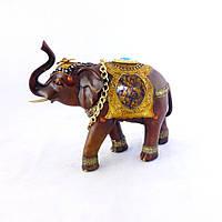 Статуэтка Слоник с золотой цепочкой 30 см H2641-8G