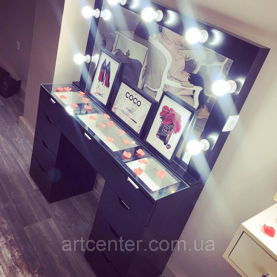 Стол визажиста черного цвета с витриной в столешнице, гримерное зеркало
