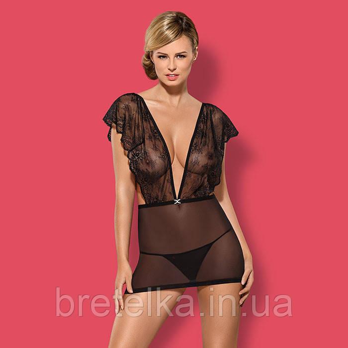Ночная сорочка прозрачная с кружевным верхом черная стринги в комплекте Obsessive Merossa Chemise