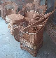 Мебель плетеная коричневая со вставками