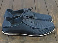 Мужские синие мокасины на шнуровке, фото 1