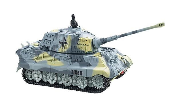 Микро танк на радиоуправлении  King Tiger в масштабе 1:72 (серый)
