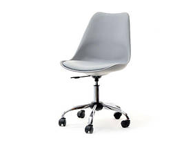 Стильный офисный стул, пластиковый с мягким сиденьем, хромированным основанием и колесиками Milan Office, фото 3