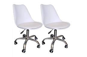 Стильный офисный стул, пластиковый с мягким сиденьем, хромированным основанием и колесиками Milan Office, фото 2