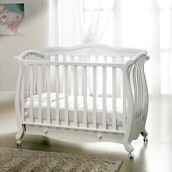 Кроватка детская Baby Italia Andrea Lux Glitter White, 150х76 см, цвет белый, дерево бук