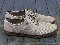 Мужские кожаные туфли на шнуровке светло-коричневые, фото 1