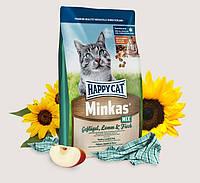 Happy Cat Minkas Mix 10 кг сухой корм для взрослых кошек всех пород c птицей, ягненком и рыбой, 4070