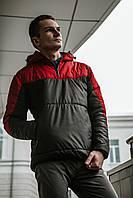 Анорак ветровка весенний/осенний утепленный мужской Intruder Hypnotic, цвет красно-черный, фото 1